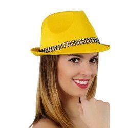 Chapeau borsalino jaune avec strass Accessoires de fête 15759