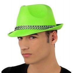 Chapeau borsalino vert avec strass Accessoires de fête 15760