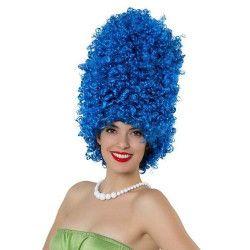 Perruque Marje afro frisée bleue et haute Accessoires de fête 15836