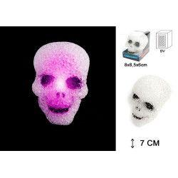 Lampe tête de mort lumineuse 7 cm Déco festive 15926