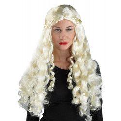 Perruque blonde et longue Mère des dragons Accessoires de fête 71265