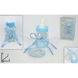 Biberon présentoir baby shower bleu avec 30 biberons de 9 cm Confiserie 67949