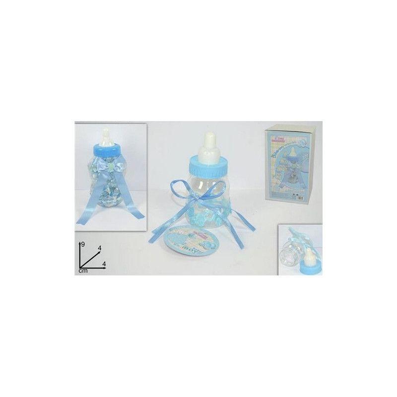 Biberon présentoir baby shower bleu avec 30 biberons de 9 cm Déco festive 67949