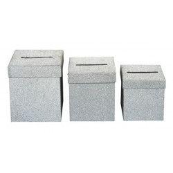 Déco festive, Urne carrée argent 3 dimensions au choix, 1700012-A, 10,90€