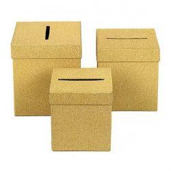 Déco festive, Urne carrée or 3 dimensions au choix, 1700012-O, 10,90€