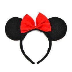 Accessoires de fête, Serre-tête Minnie avec noeud rouge enfant, 27578, 1,80€