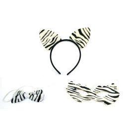 Serre-tête zèbre avec queue et noeud papillon Accessoires de fête 45840