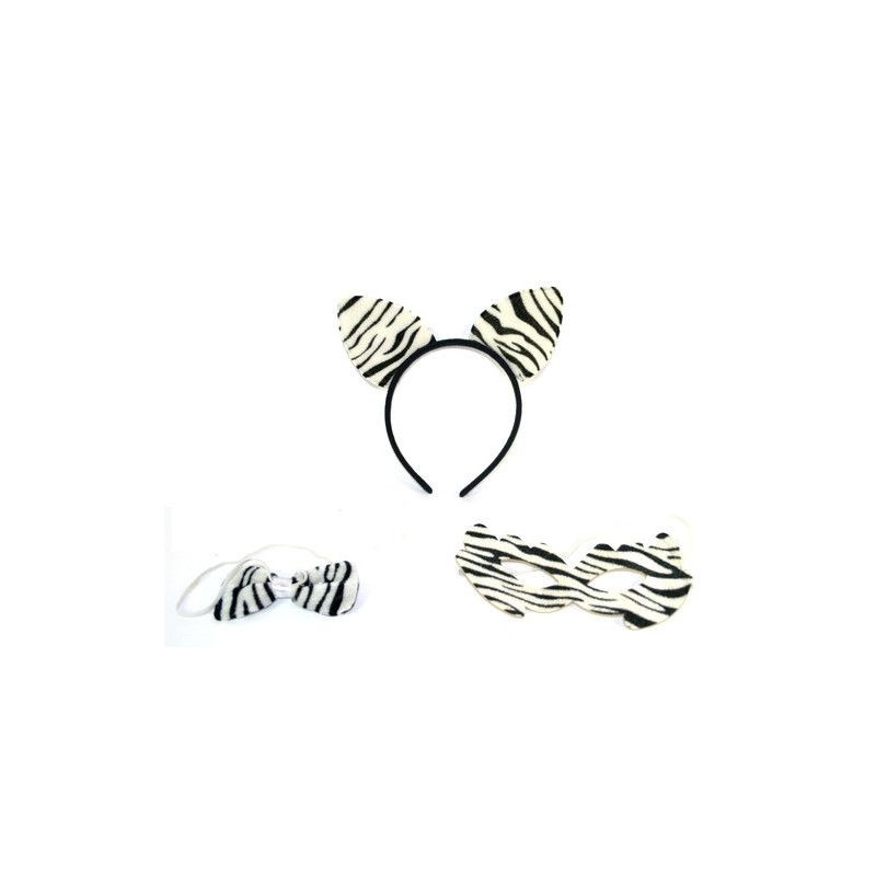 Serre-tête zèbre avec LOUP et noeud papillon Accessoires de fête 45840