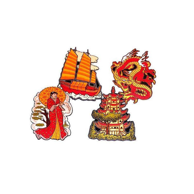 Lot de 4 découpes nouvel an chinois 30 cm Déco festive 10100PM