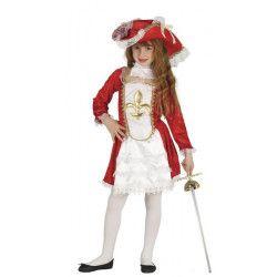 Déguisements, Déguisement mousquetaire rouge et blanc fille 10-12 ans, 87526, 24,90€