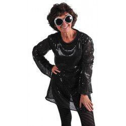 Tunique disco noire à paillettes femme Déguisements 22813