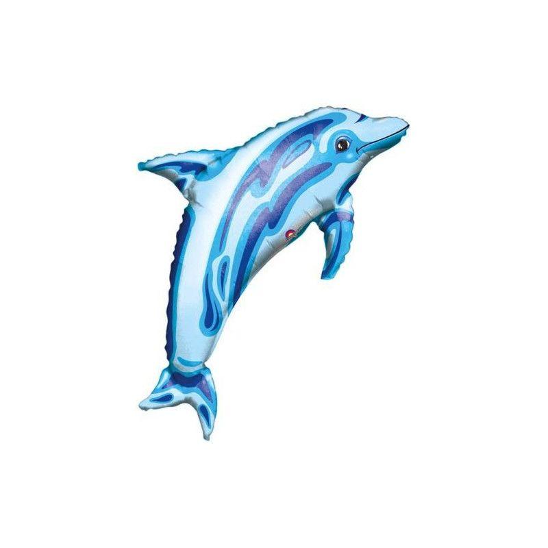 Déco festive, Ballon alu hélium dauphin bleu 84 cm, 05813 01, 5,80€