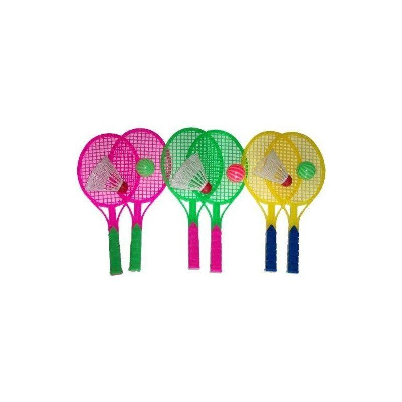 Jouets et kermesse, Paire de raquettes en plastique avec volant et balle vendue par 20, 06111-LOT, 0,61€