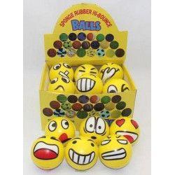 Jouets et kermesse, Balle jaune grimace 7 cm vendue par 24, 06132-LOT, 0,60€