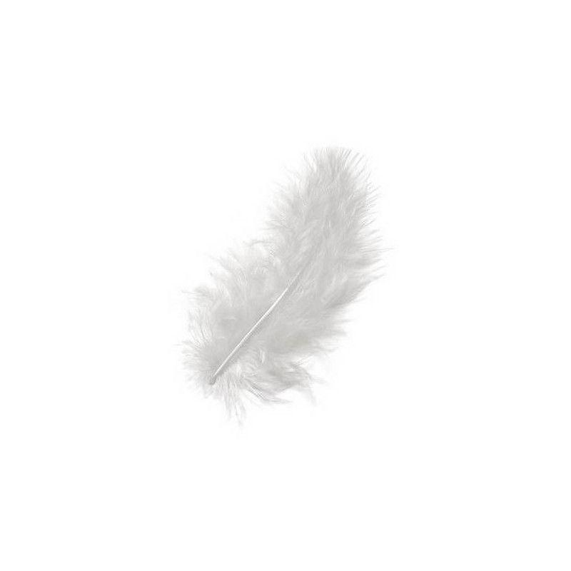 Accessoires de fête, Sachet de 100 plumes 5-10 cm - Blanche, 0702-00, 2,50€