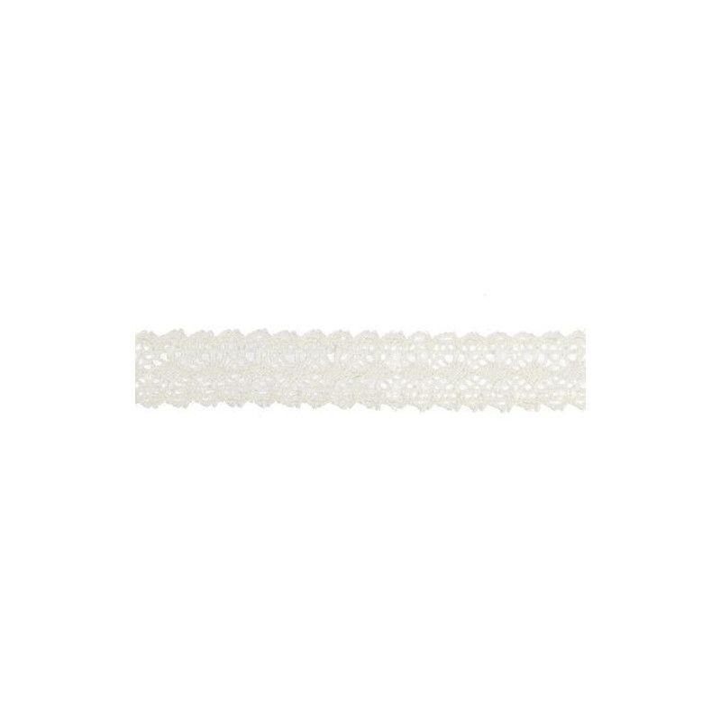 Déco festive, Ruban coton dentelle blanche 1cmx2m, 0889-00, 2,30€