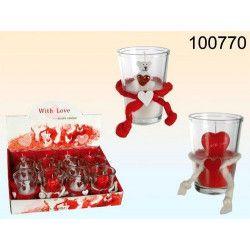 Déco festive, Verre avec sa bougie ours ou coeur thème St. Valentin, 100770, 3,90€