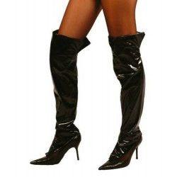 Sur-bottes en simili cuir noir Accessoires de fête 16098