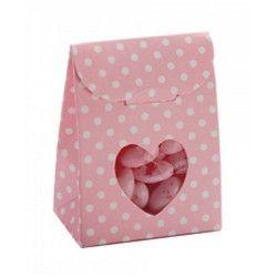 Sachet en carton à pois roses pour dragées x 10 Cake Design 1016768