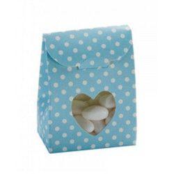 Sachet en carton à pois bleus pour dragées x 10 Cake Design 1016833