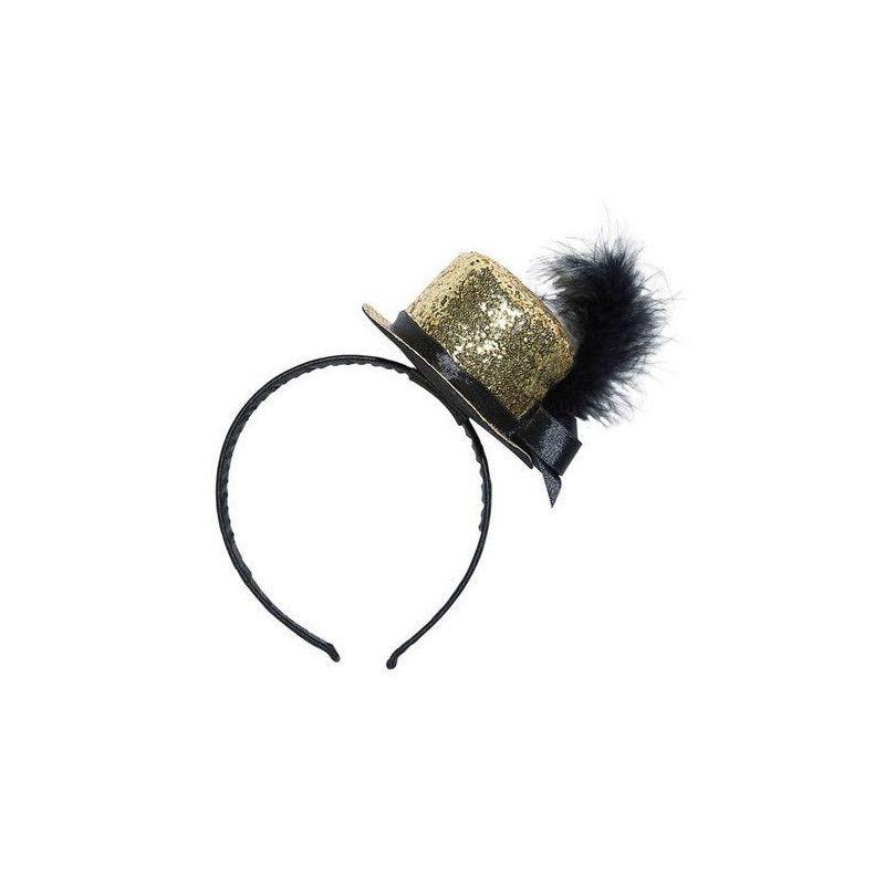 Accessoires de fête, Serre-tête avec petit chapeau haut de forme or paillettes, 10171, 4,50€