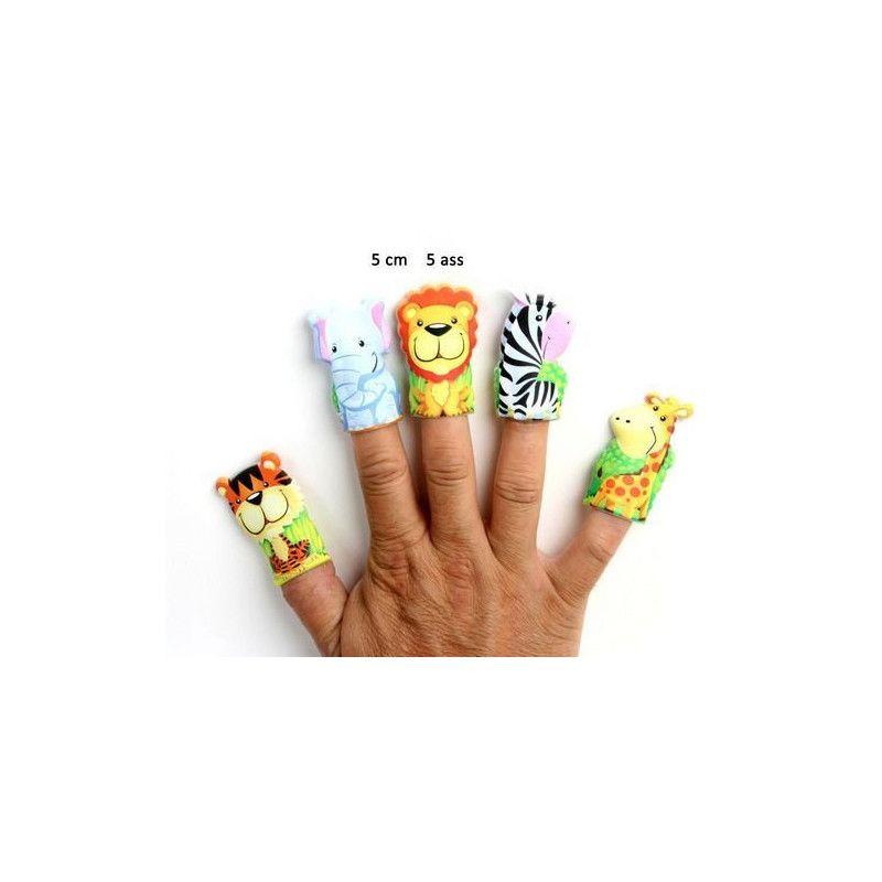 Jouets et kermesse, Marionnette à doigt animal du zoo 5 cm vendue par 48, 10204-LOT, 0,30€
