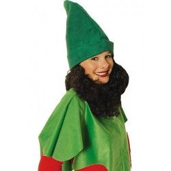 Bonnet de nain vert avec barbe Accessoires de fête 10250605