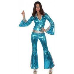 Déguisements, Déguisement femme Disco bleu M-L, 10392, 29,90€