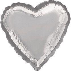 Déco festive, Ballon hélium coeur argent métallisé 45 cm, 1057601, 2,40€