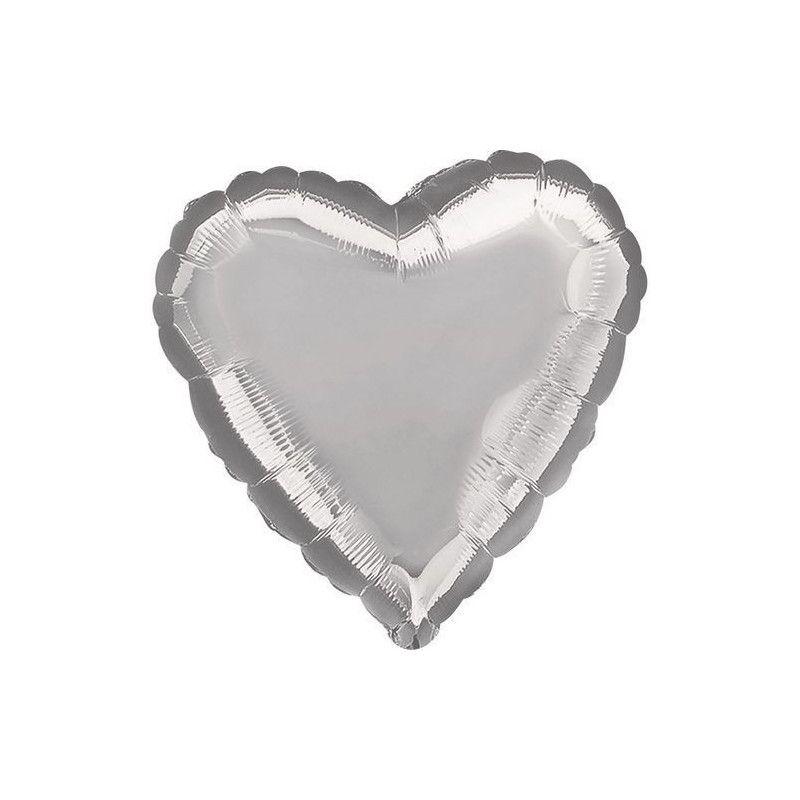 Ballon hélium coeur argent métallisé 45 cm Déco festive 1057601