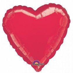 Ballon hélium coeur rouge métallisé 43 cm Déco festive 1058401