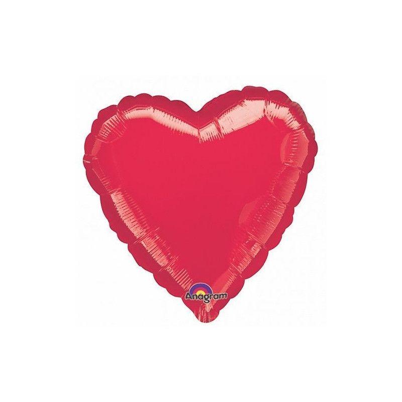 Déco festive, Ballon hélium coeur rouge métallisé 43 cm, 1058401, 2,40€