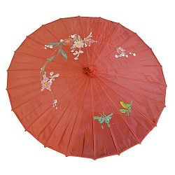 Accessoires de fête, Ombrelle chinoise tissu décoré, AC2702, 7,50€