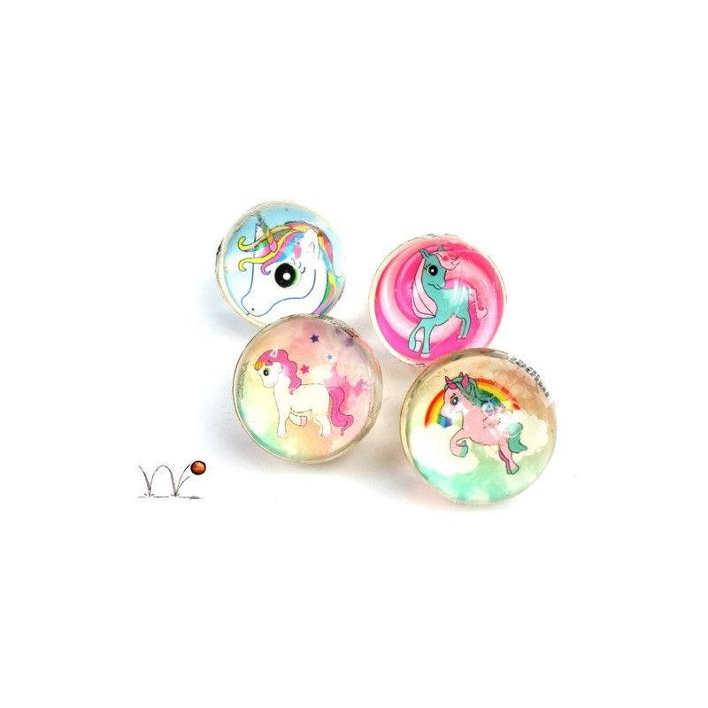 Balle super rebondissante licorne 3 cm vendue par 48 Jouets et articles kermesse 23068-LOT