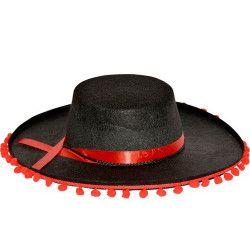 Accessoires de fête, Chapeau espagnol avec pompons adulte, CF115132NOIR, 4,50€