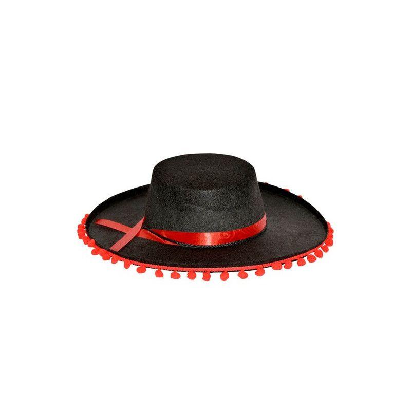 Chapeau espagnol avec pompons adulte Accessoires de fête CF115132NOIR