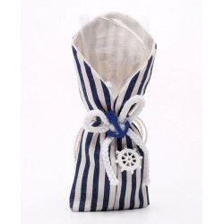 Déco festive, Sachet de 5 pochons à dragées rayé bleu et blanc, 11050, 7,50€