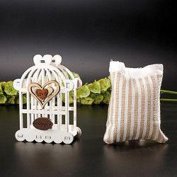 Déco festive, Cage blanche avec pochon hauteur 8 cm, 93069BACOMA, 2,60€