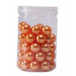 Contenant de 50 perles orange diamètre 1.4 cm Déco festive 13874