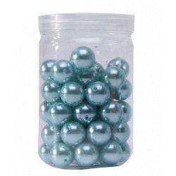 Contenant de 50 perles turquoise diamètre 1.4 cm Déco festive 13875