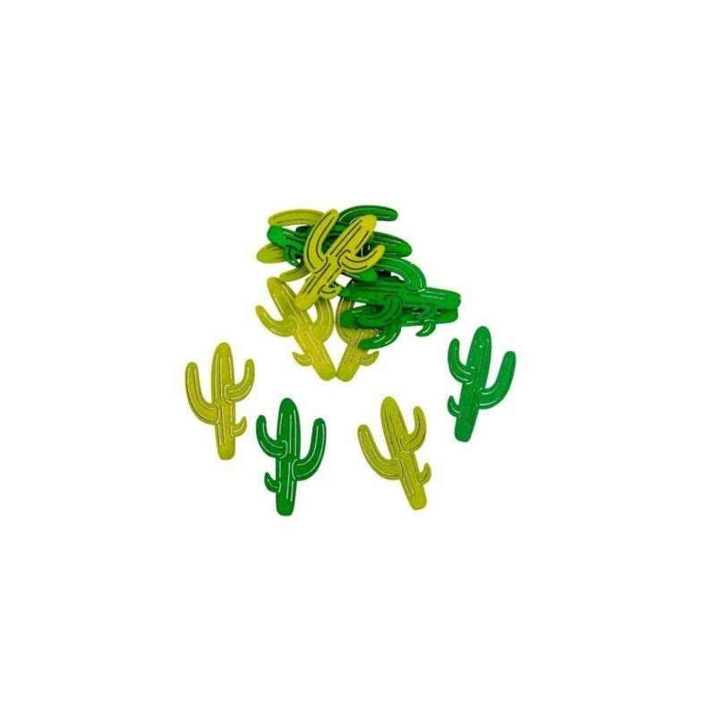 Sachet 12 confettis cactus bois Déco festive 10302