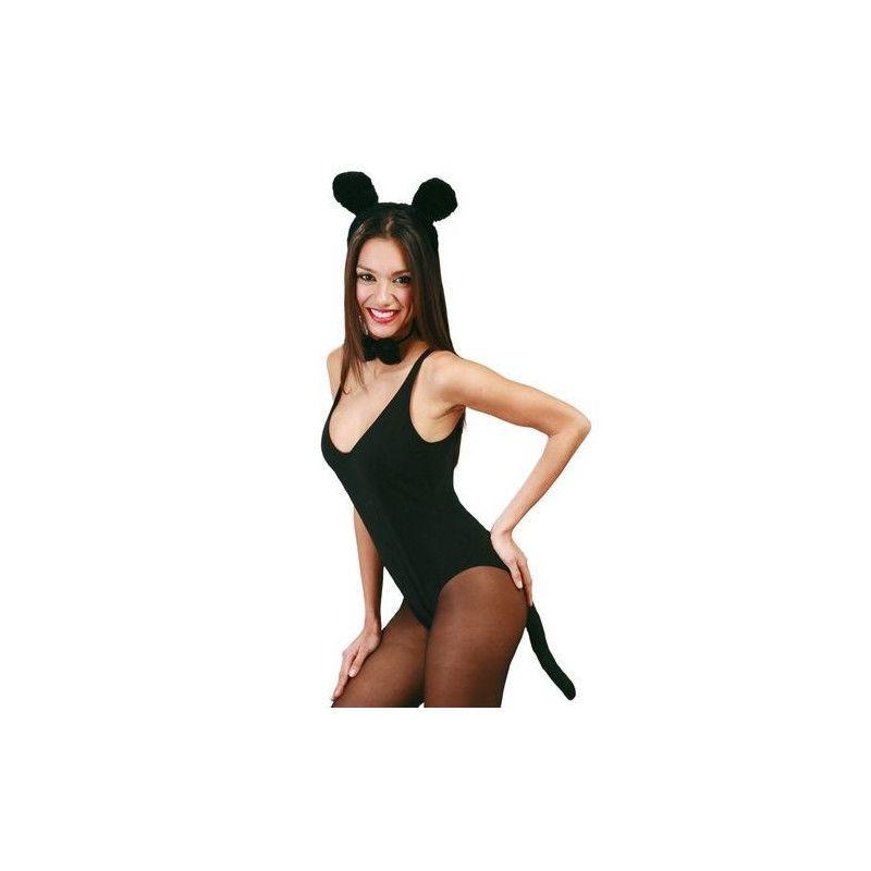 Ensemble noir petite souris adulte Accessoires de fête 16478