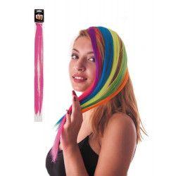 Mèche de cheveux rose néon à clipser Accessoires de fête 86239