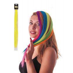 Mèche de cheveux jaune néon à clipser Accessoires de fête 86241