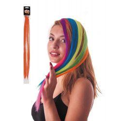 Mèche de cheveux orange néon à clipser Accessoires de fête 86240
