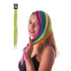 Mèche de cheveux vert néon à clipser Accessoires de fête 86242