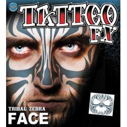 Accessoires de fête, Tatouage facial zèbre tribal temporaire, FC-502, 9,90€