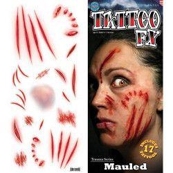 Accessoires de fête, Planche tatouages griffures temporaires, TR-111, 6,90€