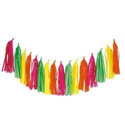 Guirlande tassels technicolores néon 180 cm Déco festive 50286