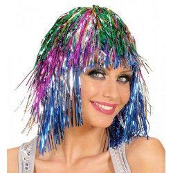 Perruque tinsel multicolore Accessoires de fête 87333613